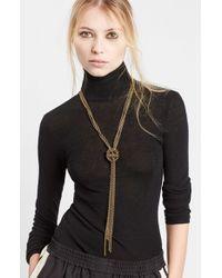 Lanvin | Metallic Loose Knot Brass Necklace | Lyst