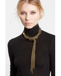 Lanvin | Metallic Tight Knot Brass Necklace | Lyst