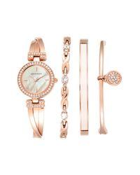 Anne Klein | Pink Boxed Bracelet & Bangle Watch Set | Lyst