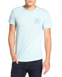 RVCA - Blue Grid All The Way Graphic T-shirt for Men - Lyst