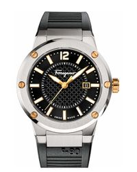 Ferragamo | Metallic 'f-80' Rubber Strap Watch for Men | Lyst