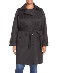 London Fog - Black Double Breasted Trench Coat - Lyst