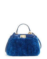 Fendi | Blue Peekaboo Micro Shearling Satchel | Lyst