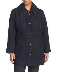 Jessica Simpson - Blue Basket Weave Fit & Flare Coat - Lyst