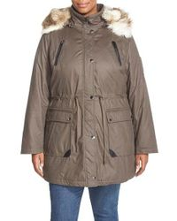 Laundry by Shelli Segal | Gray Faux Fur Trim Parka | Lyst