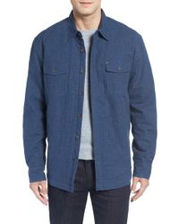 Cova | Blue 'combo' Brushed Flannel Shirt Jacket for Men | Lyst