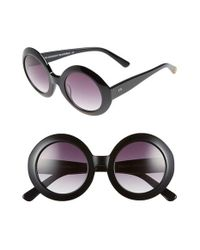 Freida Rothman | Black 'jackie O' 48mm Round Sunglasses | Lyst