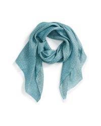 Ferragamo | Blue Gancini Pattern Linen & Cashmere Scarf | Lyst