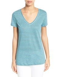 Caslon - Blue Caslon Linen Knit V-neck Tee - Lyst