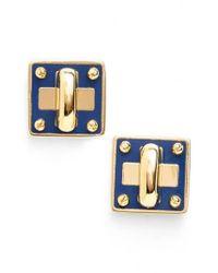 Marc Jacobs - Blue Marc By 'turnlock' Enamel Stud Earrings - Lyst