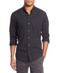 W.r.k. | Black 'reworkd' Slim Fit Solid Mixed Media Sport Shirt for Men | Lyst