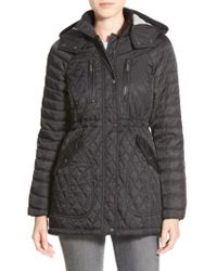 Vince Camuto - Black Detachable Hood Quilted Anorak - Lyst