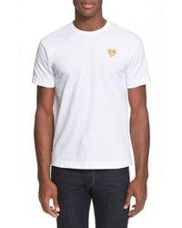 Comme des Garçons   White Play Crewneck T-shirt for Men   Lyst