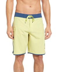 RVCA | Yellow 'eastern' Scalloped Hem Board Shorts for Men | Lyst