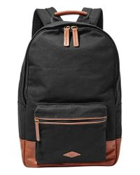 Fossil | Black 'estate' Canvas Backpack for Men | Lyst
