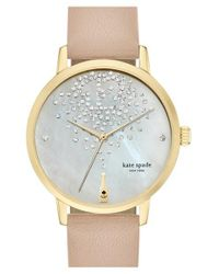 kate spade new york   Natural 'metro' Leather Strap Watch   Lyst