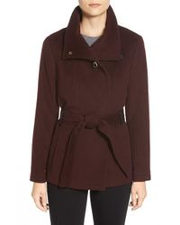 Cole Haan | Purple Faux Leather Trim Belted Asymmetrical Coat | Lyst