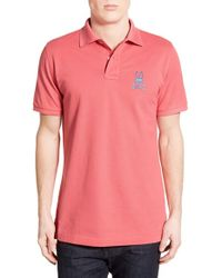 Psycho Bunny - Pink 'tall Bunny' Pima Cotton Pique Polo for Men - Lyst