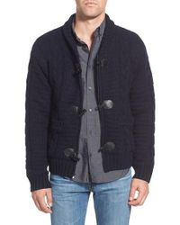 Schott Nyc | Blue Cable Knit Shawl Collar Zip Cardigan for Men | Lyst