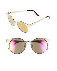 cc776cda56 Lyst - Quay  asha  50mm Metal Sunglasses in Metallic