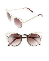 Quay | Metallic 'invader' 50mm Cat Eye Sunglasses | Lyst