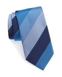 David Donahue | Blue Stripe Silk & Cotton Tie for Men | Lyst