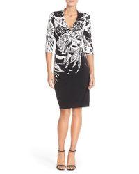Donna Ricco Black Print Knot Jersey Sheath Dress