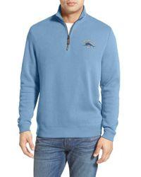 Tommy Bahama | Blue 'classic Aruba' Original Fit Half Zip Sweater for Men | Lyst