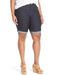 NYDJ | Blue 'briella' Stretch Roll Cuff Denim Shorts | Lyst