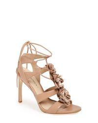 Via Spiga | Black 'deedee' Rosette Lace-up Sandal | Lyst