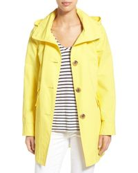 Ellen Tracy   Yellow A-line Sailcloth Coat With Detachable Hood   Lyst