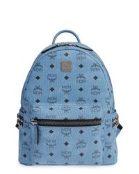 MCM | Blue 'small Stark' Side Stud Backpack | Lyst
