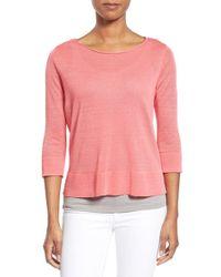 Eileen Fisher - Pink Organic Linen & Nylon Sheer Boxy Sweater - Lyst