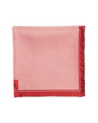 Robert Talbott | Red Herringbone Silk Pocket Square for Men | Lyst
