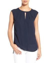 Cece by Cynthia Steffe - Blue Pleat Keyhole Neck Blouse - Lyst