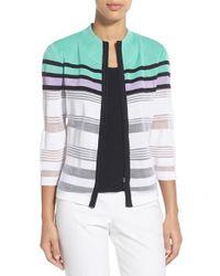 Ming Wang - Gray Zip-Front Jacquard-Knit Jacket - Lyst