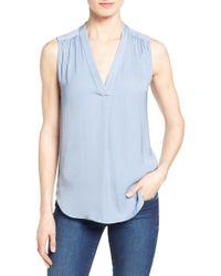 Vince Camuto - Blue Shirred Shoulder V-neck Blouse - Lyst