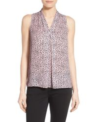 Vince Camuto - White Pleat Front Print V-neck Top - Lyst