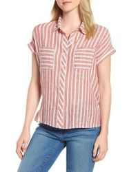 Lucky Brand - Red Tie Back Stripe Shirt - Lyst