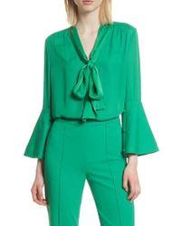Alice + Olivia - Green Meredith Tie Neck Silk Blouse - Lyst