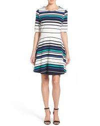 Pleione - Green Stripe Ottoman Rib Fit & Flare Dress - Lyst