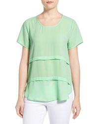 Pleione - Green Short Sleeve Tiered Top - Lyst