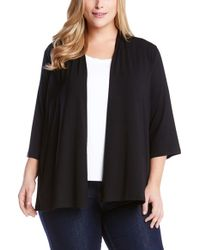 Karen Kane | Black 'molly' Open Jersey Cardigan | Lyst