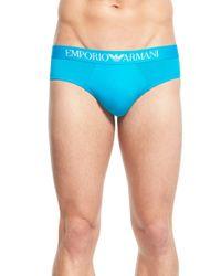 Emporio Armani | Blue Stretch Microfiber Briefs for Men | Lyst