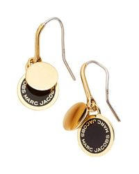 Marc By Marc Jacobs | Metallic Marc Jacobs Enamel Logo Disc Drop Earrings | Lyst