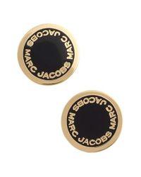 Marc Jacobs | Black Logo Disc Stud Earrings | Lyst