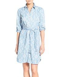 Foxcroft - Blue Ikat Print Denim Shirtdress - Lyst