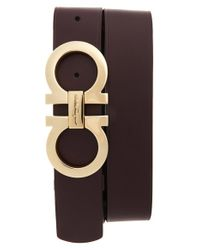 Ferragamo - Brown Double Gancio Leather Belt - Lyst