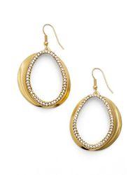 Karine Sultan | Metallic Crystal Front Hoop Earrings | Lyst