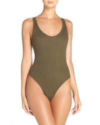 Free People - Green Stretch Cotton Leotard Bodysuit - Lyst